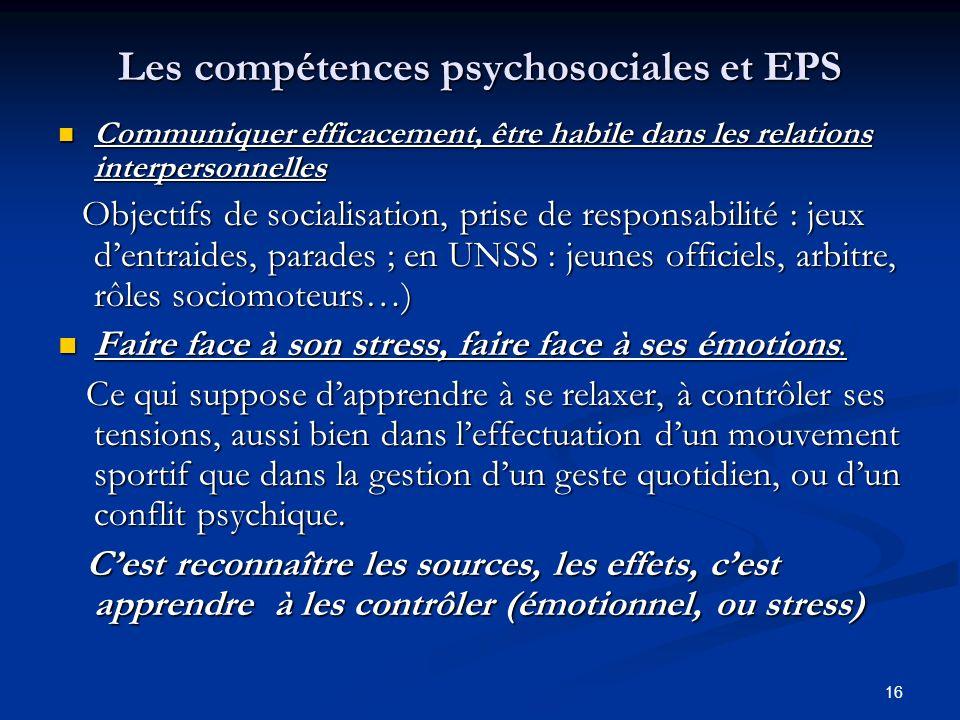 Les compétences psychosociales et EPS
