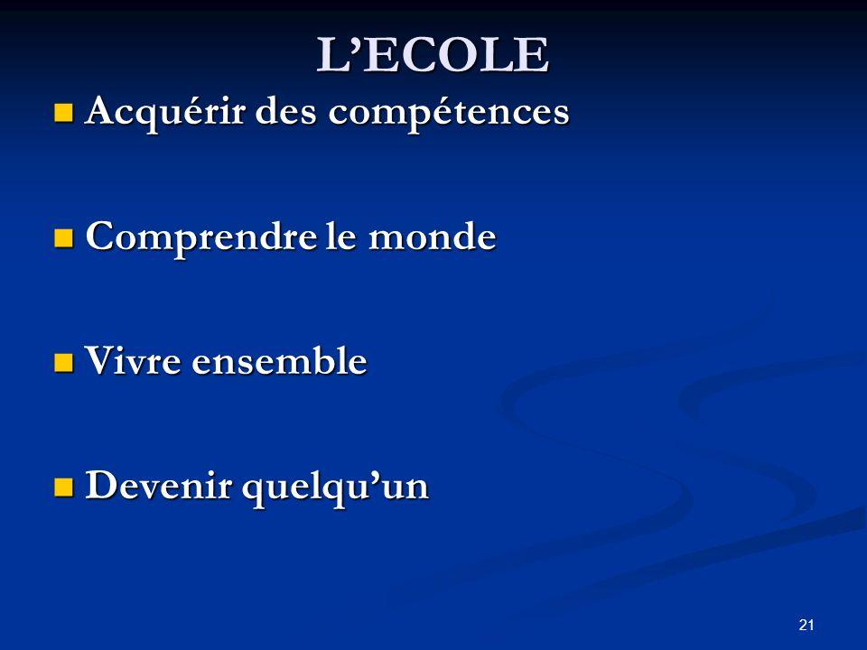 L'ECOLE Acquérir des compétences Comprendre le monde Vivre ensemble