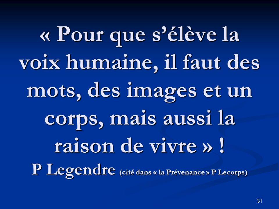 « Pour que s'élève la voix humaine, il faut des mots, des images et un corps, mais aussi la raison de vivre » .