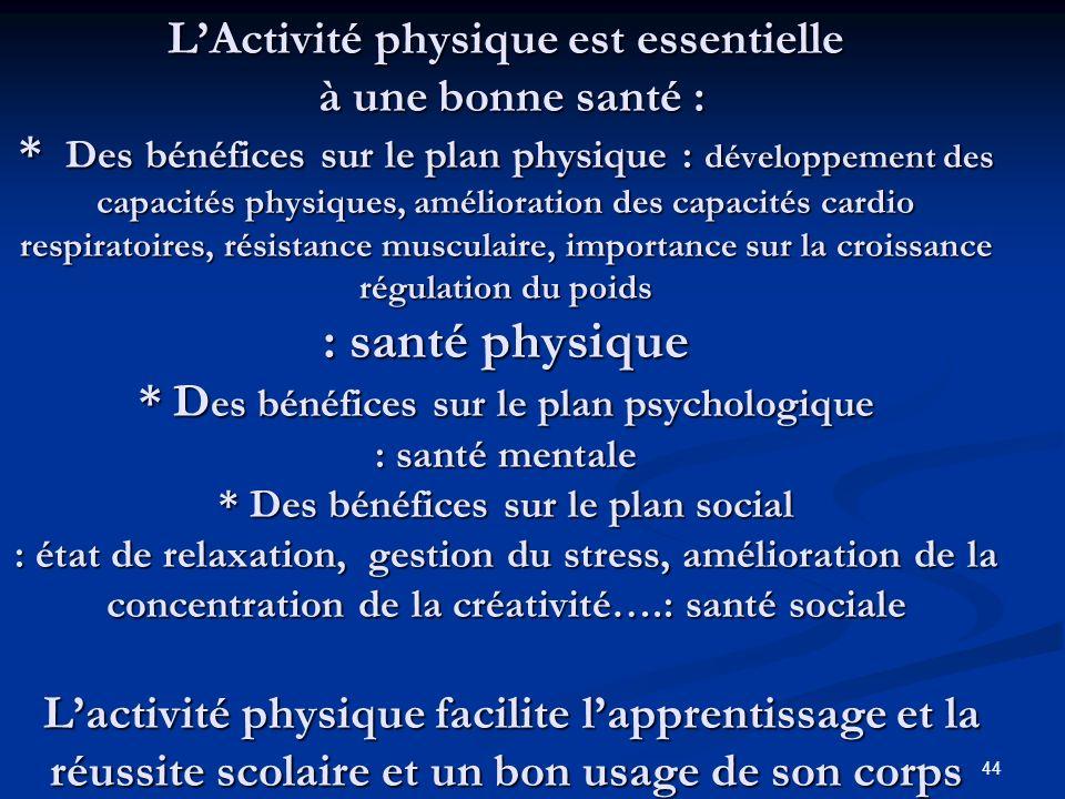 L'Activité physique est essentielle à une bonne santé :