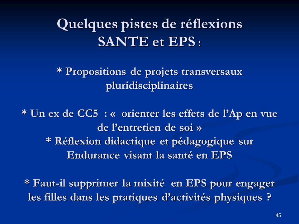 Quelques pistes de réflexions SANTE et EPS :