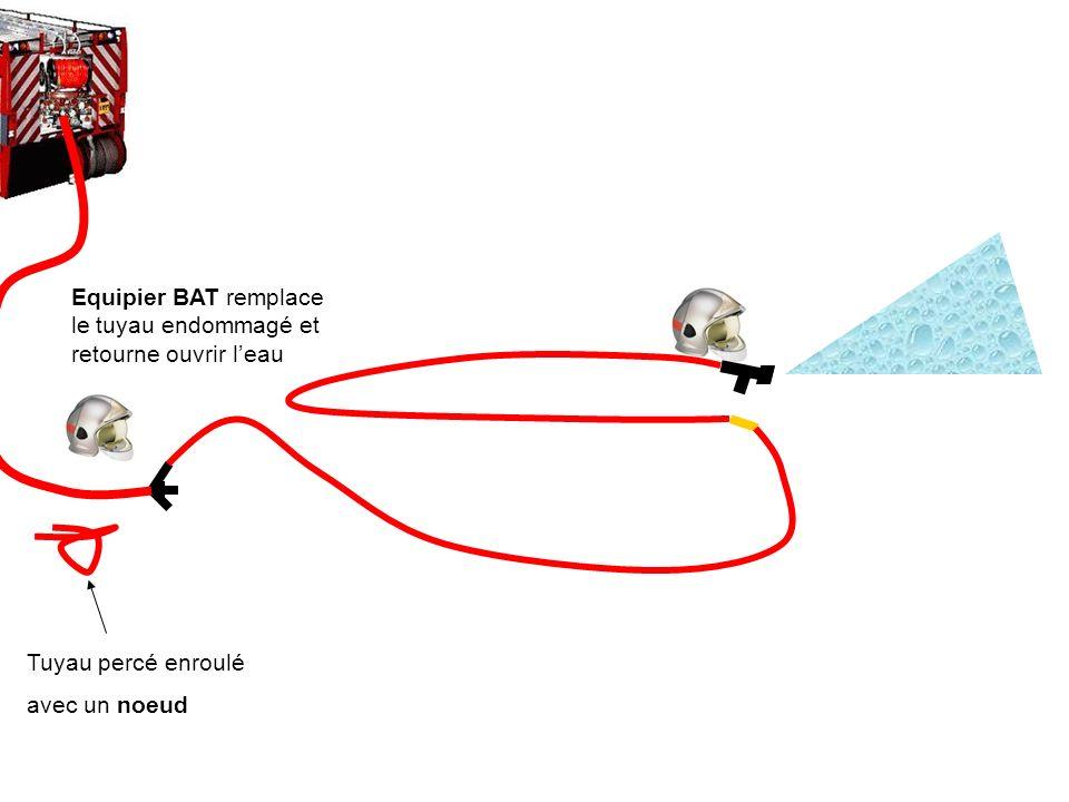 Equipier BAT remplace le tuyau endommagé et retourne ouvrir l'eau