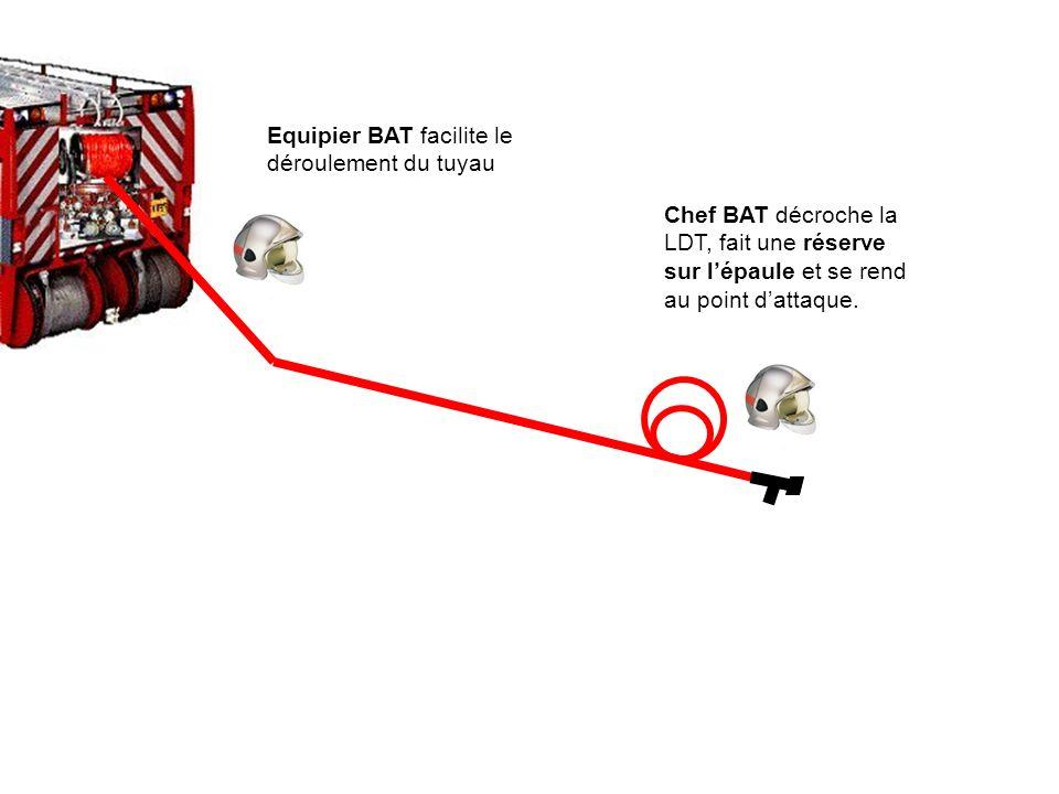Equipier BAT facilite le déroulement du tuyau
