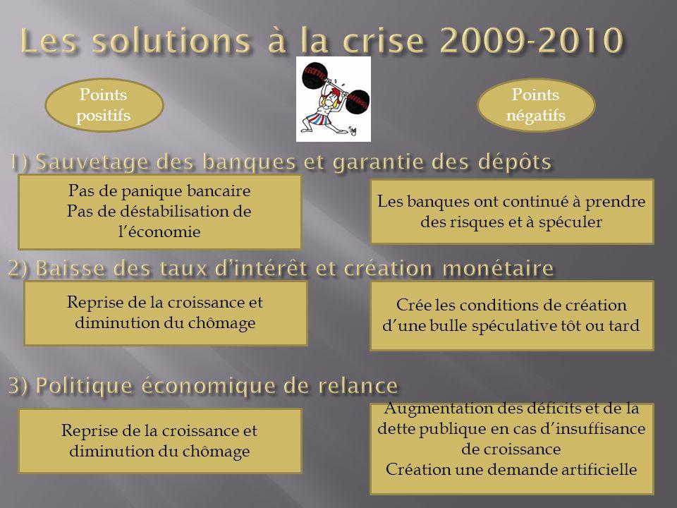 Les solutions à la crise 2009-2010