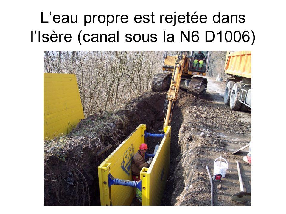 L'eau propre est rejetée dans l'Isère (canal sous la N6 D1006)