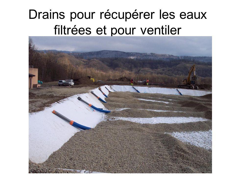 Drains pour récupérer les eaux filtrées et pour ventiler