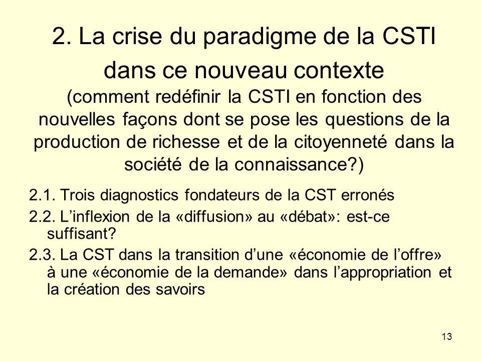 2. La crise du paradigme de la CSTI dans ce nouveau contexte (comment redéfinir la CSTI en fonction des nouvelles façons dont se pose les questions de la production de richesse et de la citoyenneté dans la société de la connaissance )