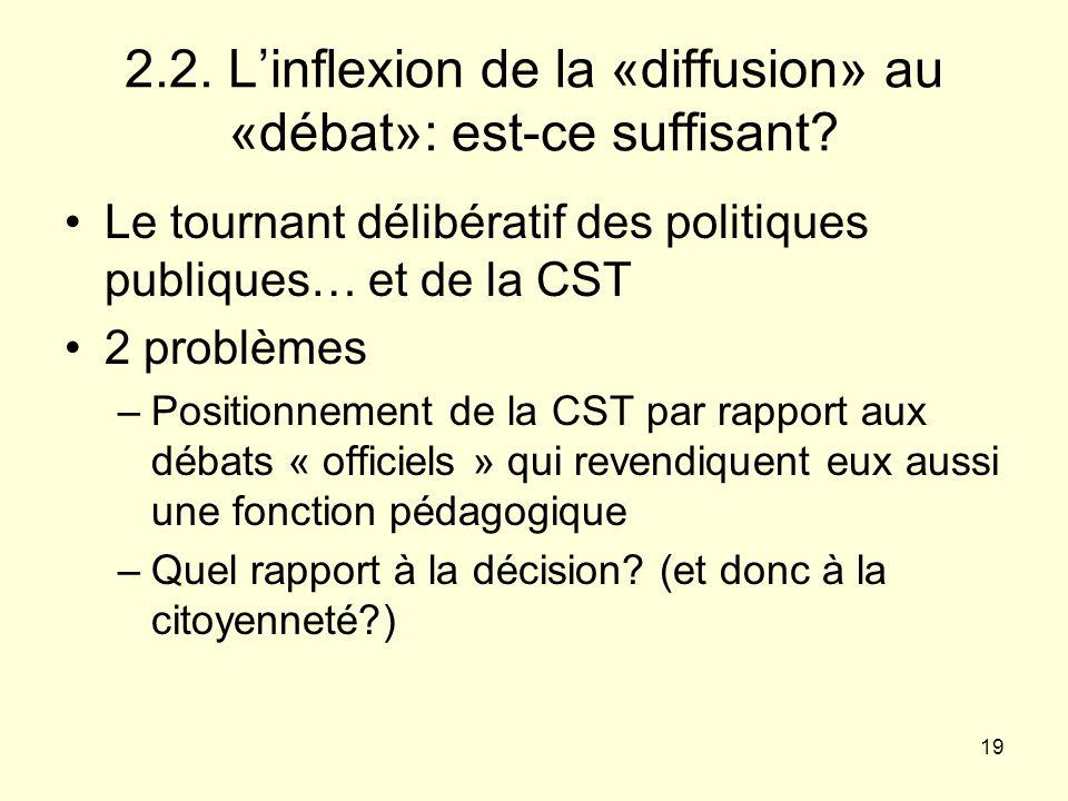 2.2. L'inflexion de la «diffusion» au «débat»: est-ce suffisant