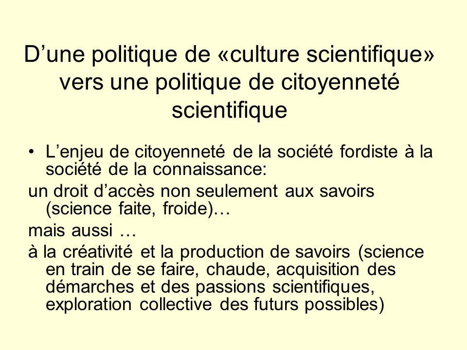 D'une politique de «culture scientifique» vers une politique de citoyenneté scientifique