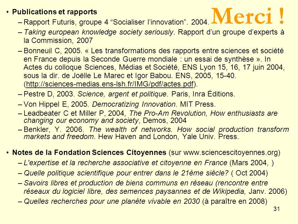 Merci ! Publications et rapports