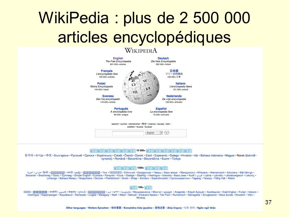 WikiPedia : plus de 2 500 000 articles encyclopédiques