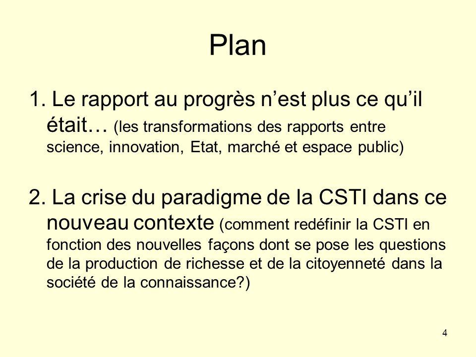 Plan 1. Le rapport au progrès n'est plus ce qu'il était… (les transformations des rapports entre science, innovation, Etat, marché et espace public)