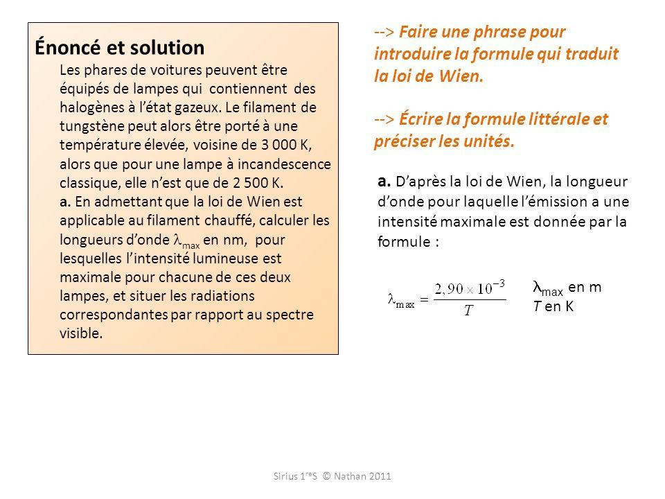 --> Faire une phrase pour introduire la formule qui traduit la loi de Wien.