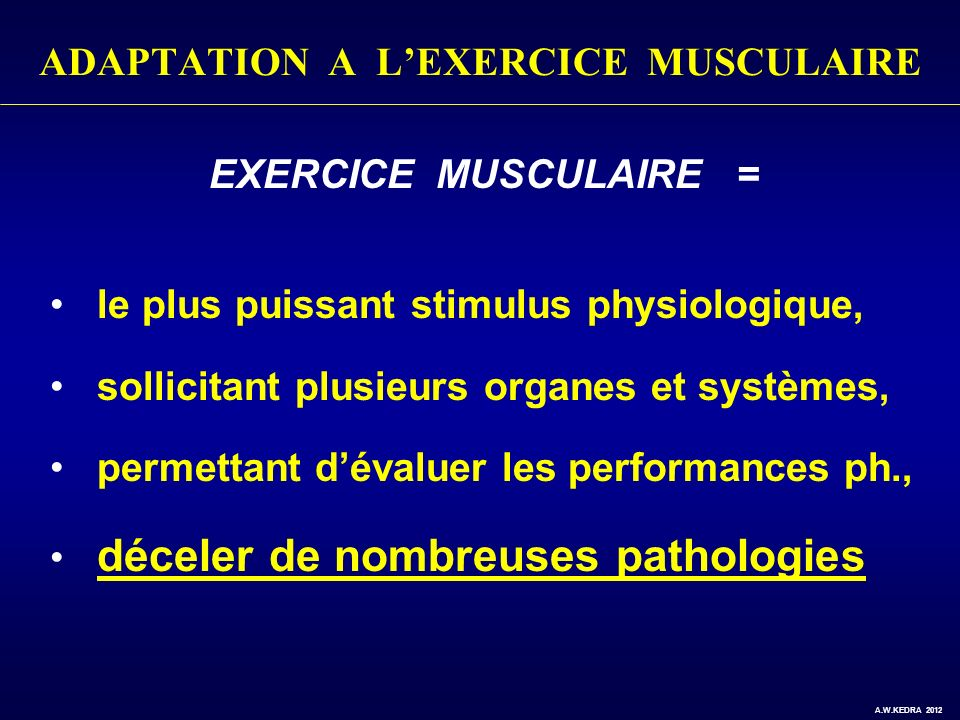 ADAPTATION A L'EXERCICE MUSCULAIRE