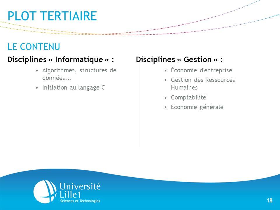 PLOT TERTIAIRE LE CONTENU Disciplines « Informatique » :