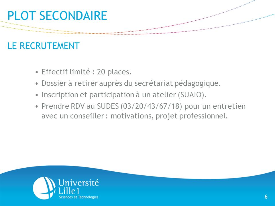 PLOT SECONDAIRE LE RECRUTEMENT Effectif limité : 20 places.