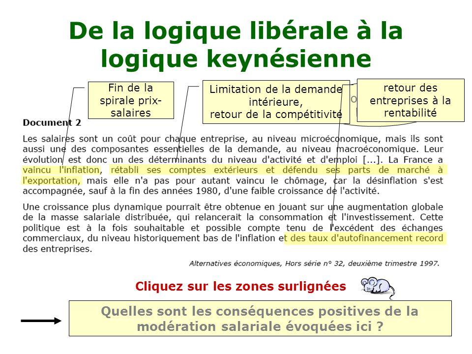 De la logique libérale à la logique keynésienne