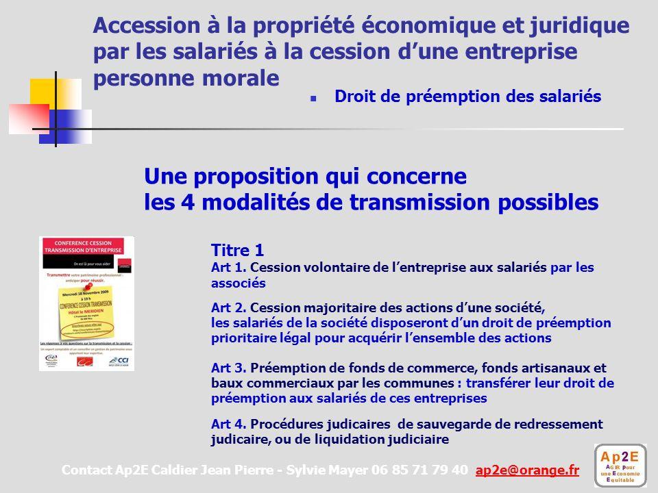 Une proposition qui concerne les 4 modalités de transmission possibles