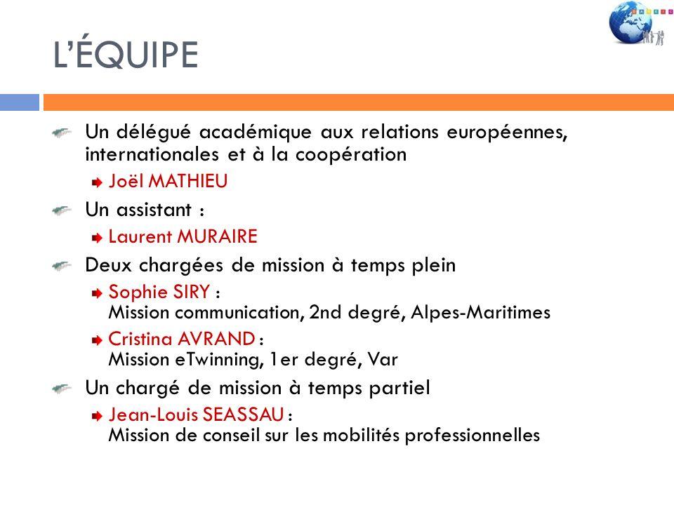 L'ÉQUIPE Un délégué académique aux relations européennes, internationales et à la coopération. Joël MATHIEU.