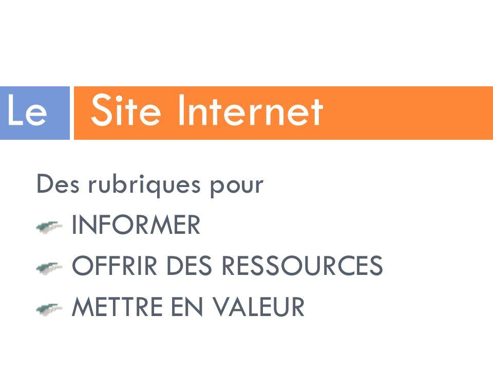 Le Site Internet Des rubriques pour INFORMER OFFRIR DES RESSOURCES