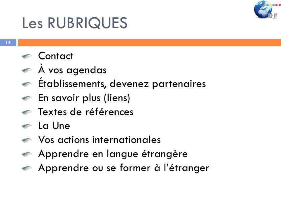 Les RUBRIQUES Contact À vos agendas