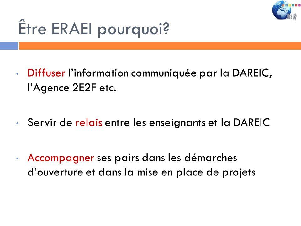 Être ERAEI pourquoi Diffuser l'information communiquée par la DAREIC, l'Agence 2E2F etc. Servir de relais entre les enseignants et la DAREIC.