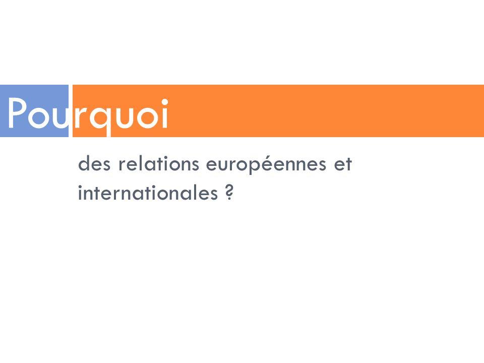 Pourquoi des relations européennes et internationales
