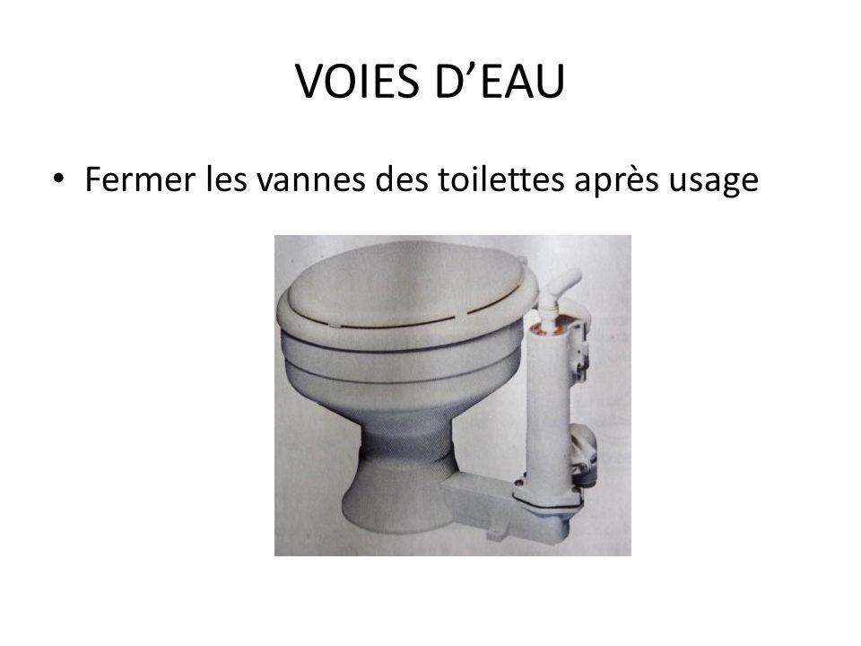 VOIES D'EAU Fermer les vannes des toilettes après usage