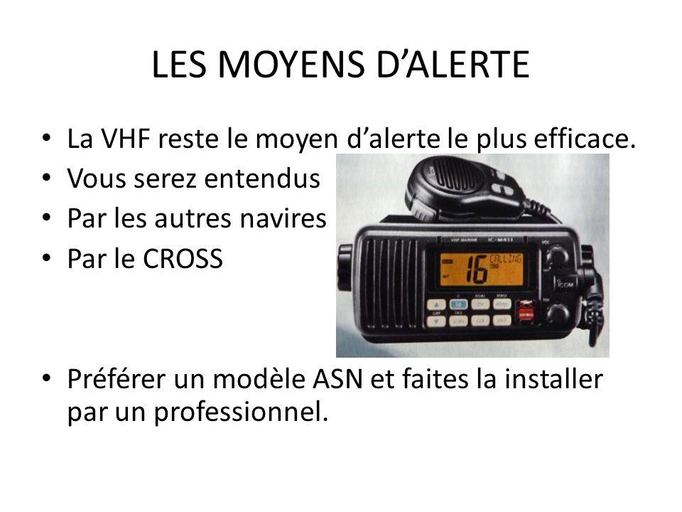 LES MOYENS D'ALERTE La VHF reste le moyen d'alerte le plus efficace.