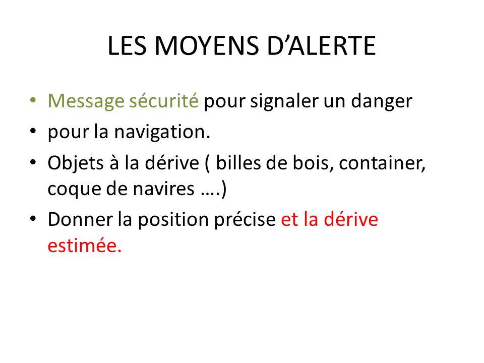 LES MOYENS D'ALERTE Message sécurité pour signaler un danger