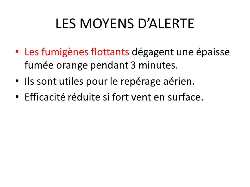 LES MOYENS D'ALERTE Les fumigènes flottants dégagent une épaisse fumée orange pendant 3 minutes. Ils sont utiles pour le repérage aérien.