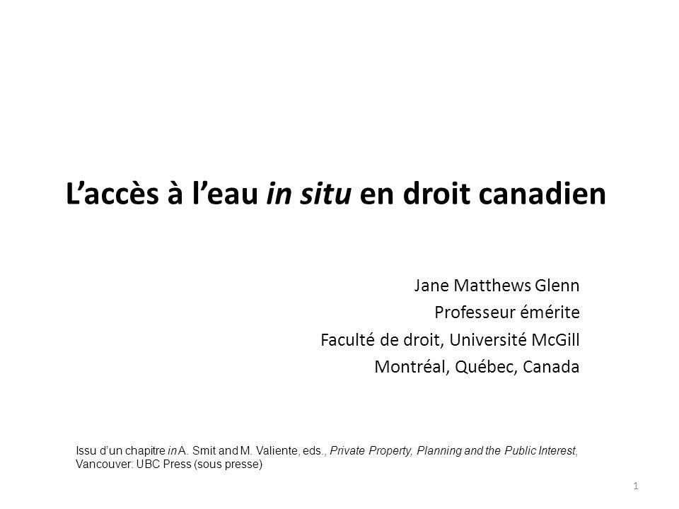 L'accès à l'eau in situ en droit canadien