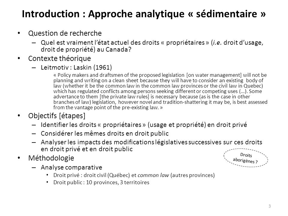 Introduction : Approche analytique « sédimentaire »