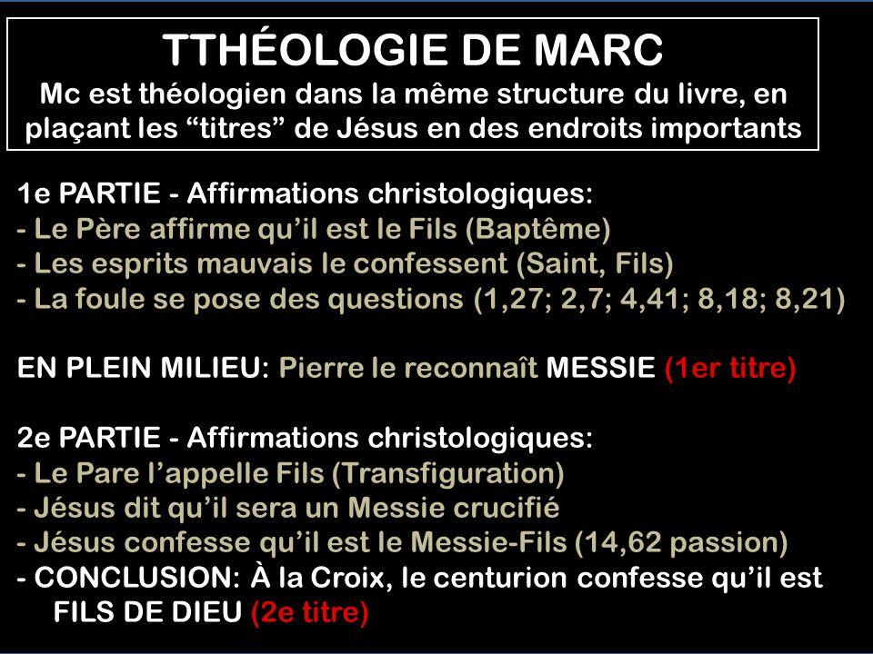 TTHÉOLOGIE DE MARC Mc est théologien dans la même structure du livre, en plaçant les titres de Jésus en des endroits importants