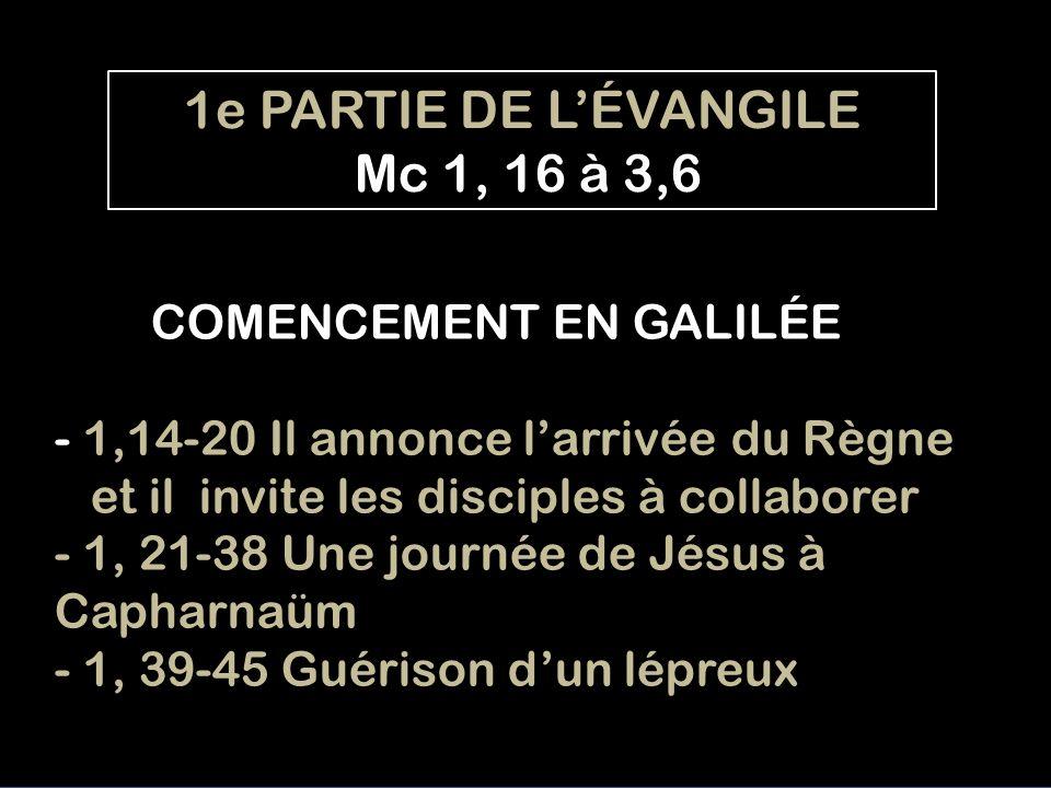 1e PARTIE DE L'ÉVANGILE Mc 1, 16 à 3,6