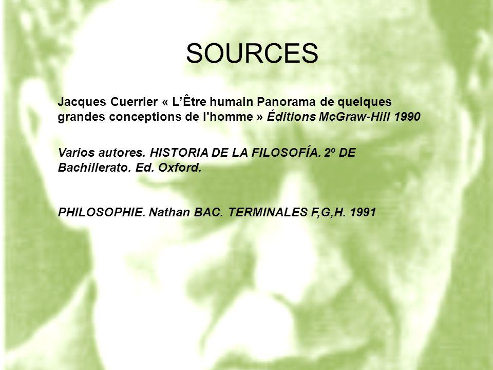 SOURCES Jacques Cuerrier « L'Être humain Panorama de quelques