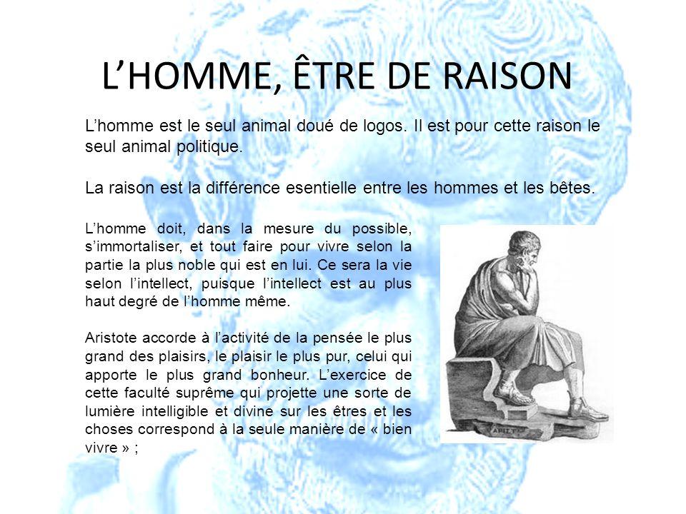 L'HOMME, ÊTRE DE RAISON L'homme est le seul animal doué de logos. Il est pour cette raison le seul animal politique.