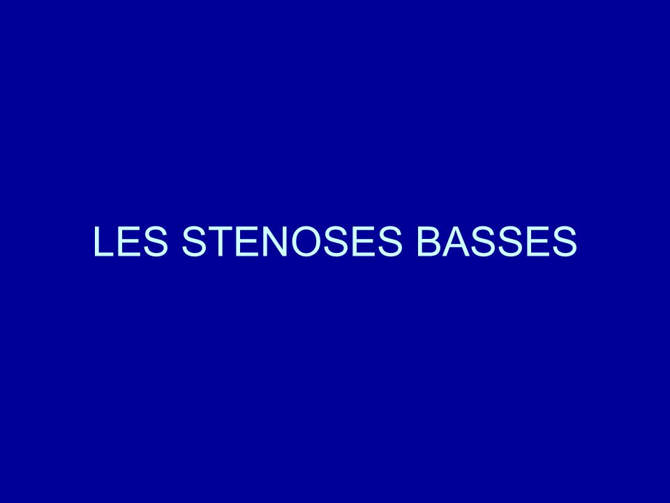 LES STENOSES BASSES