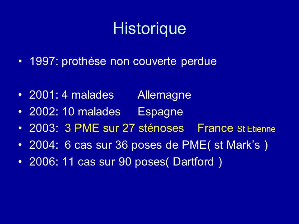 Historique 1997: prothése non couverte perdue