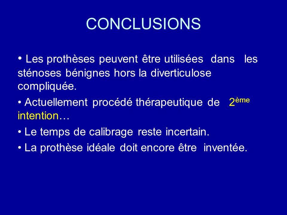 CONCLUSIONS Les prothèses peuvent être utilisées dans les sténoses bénignes hors la diverticulose compliquée.
