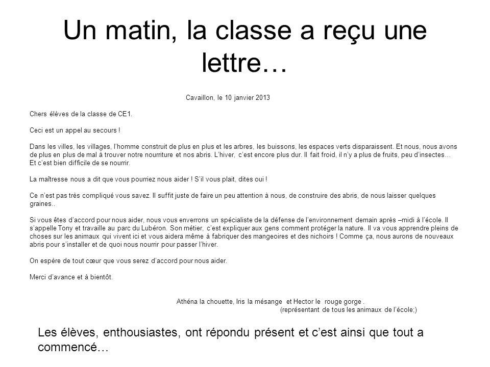 Un matin, la classe a reçu une lettre…