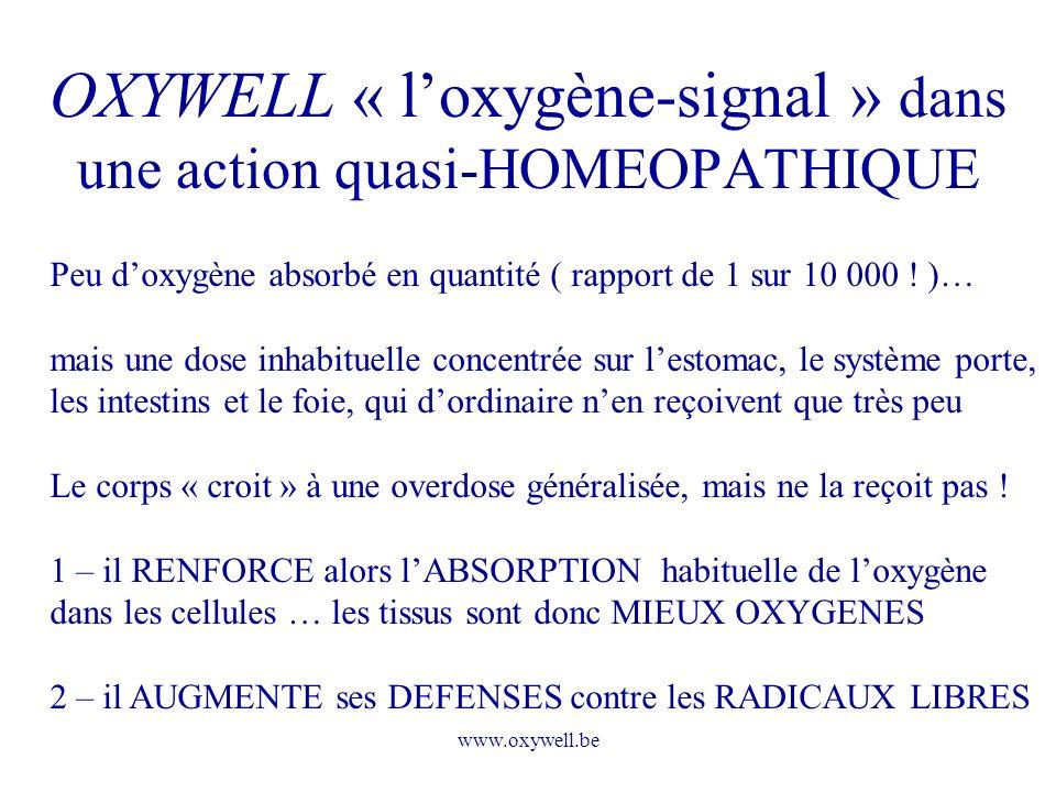 OXYWELL « l'oxygène-signal » dans une action quasi-HOMEOPATHIQUE