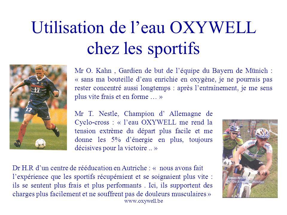 Utilisation de l'eau OXYWELL chez les sportifs