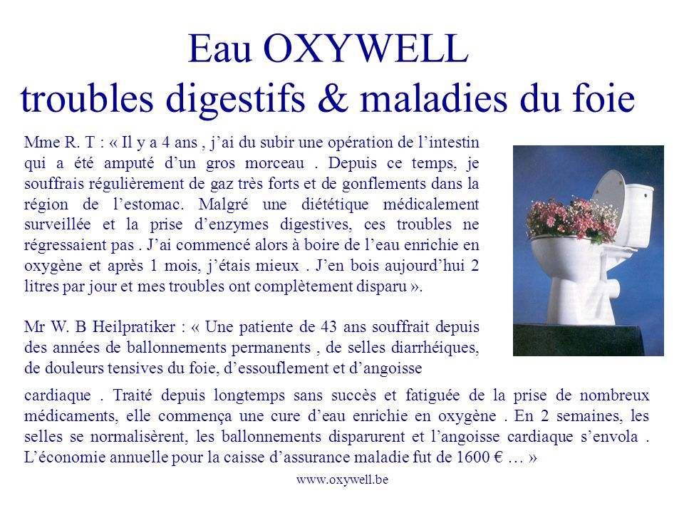 Eau OXYWELL troubles digestifs & maladies du foie