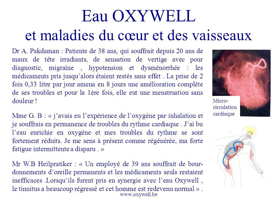 Eau OXYWELL et maladies du cœur et des vaisseaux