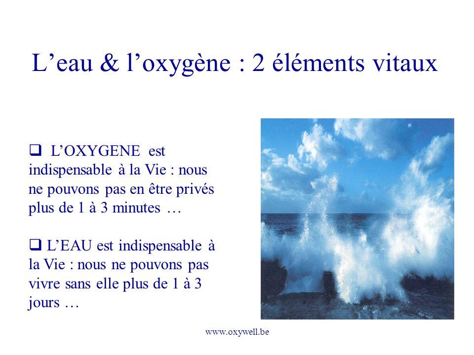 L'eau & l'oxygène : 2 éléments vitaux