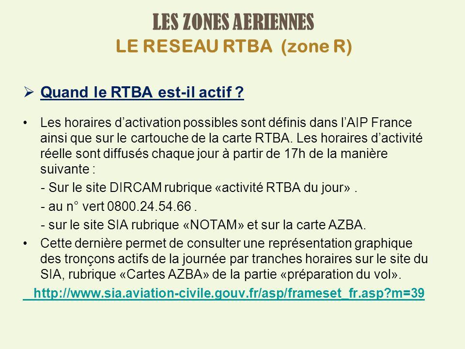 LES ZONES AERIENNES LE RESEAU RTBA (zone R)