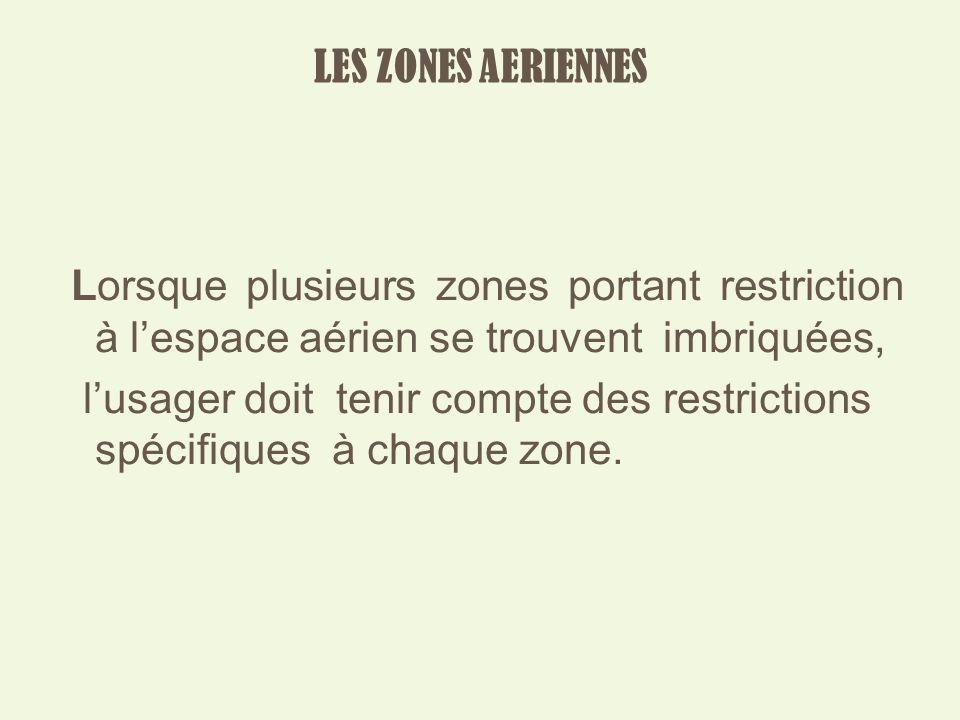 LES ZONES AERIENNES Lorsque plusieurs zones portant restriction à l'espace aérien se trouvent imbriquées,