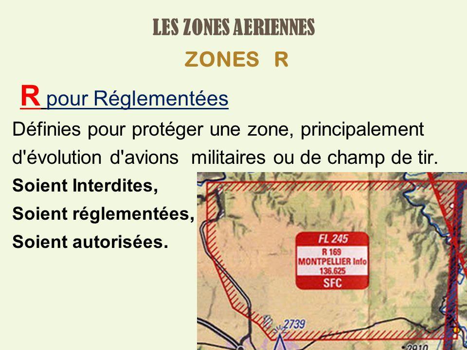 R pour Réglementées LES ZONES AERIENNES ZONES R