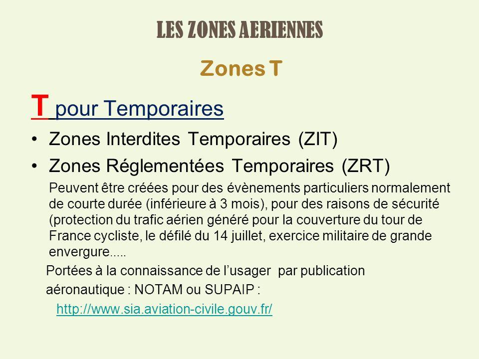 T pour Temporaires LES ZONES AERIENNES Zones T